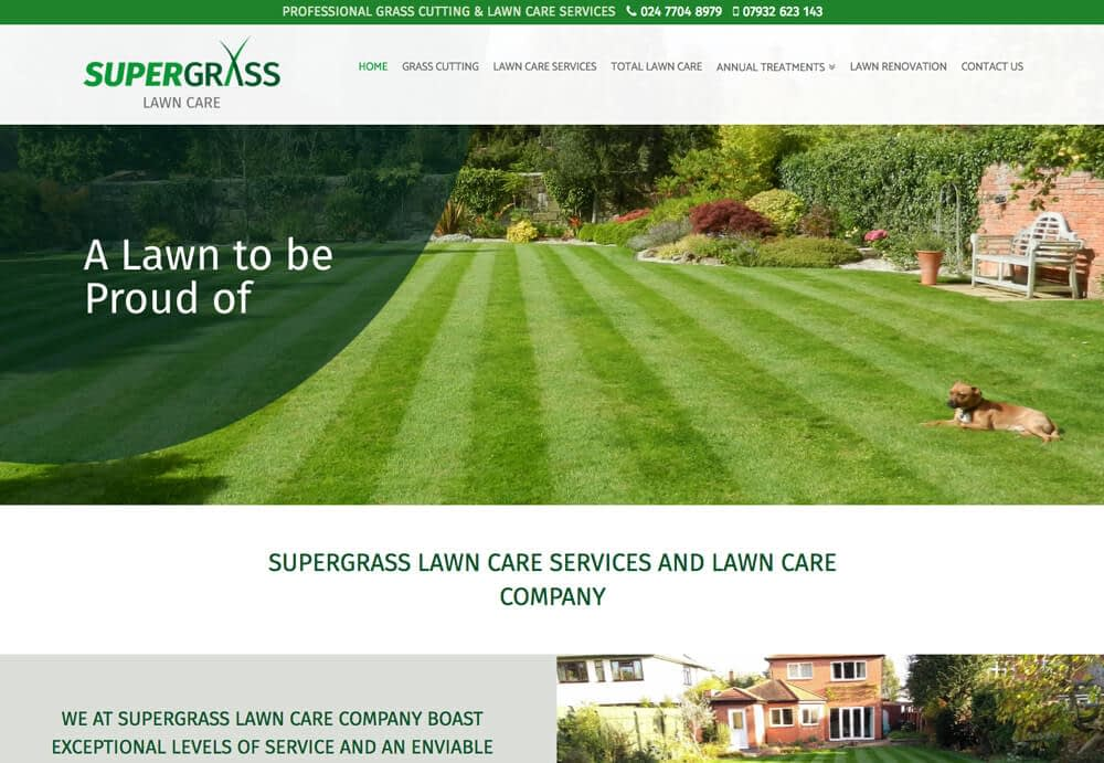 Home page image of client SuperGrass Lawn Care Website