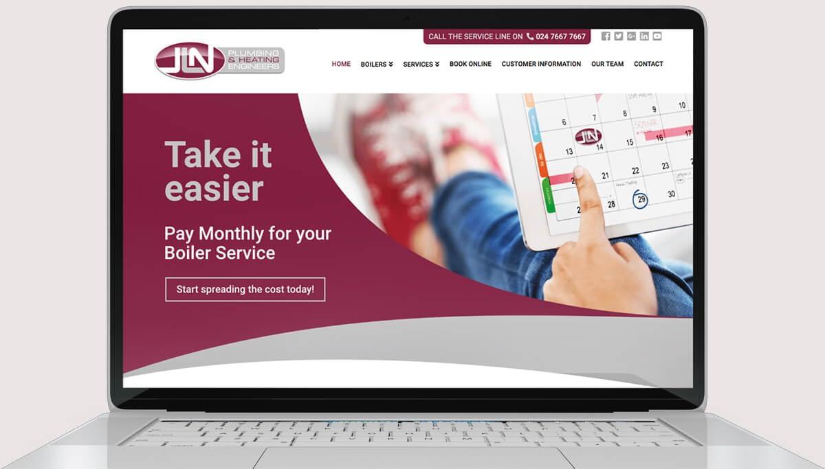 Screenshot of web design for JLN Plumbing & Heating Engineers
