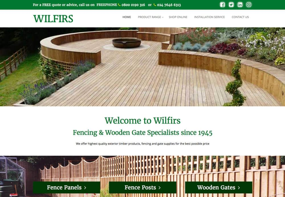 Wilfirs Website Home Page design image