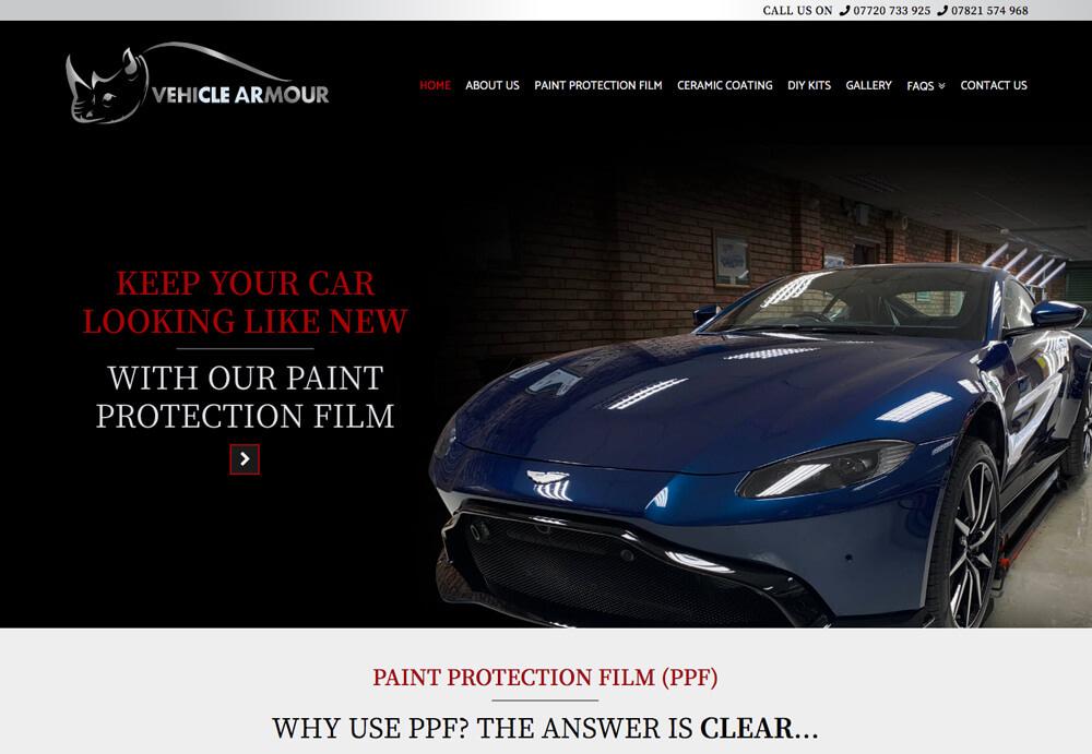 Screenshot of Vehicle Armour website