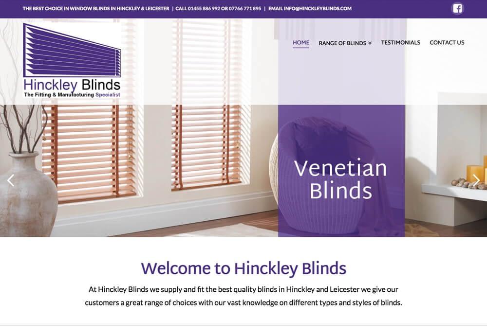 Website design example for hinckley blinds