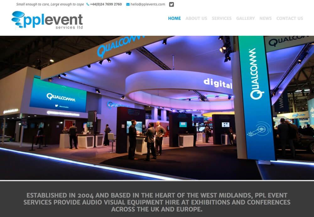 Web design for PPL Event Services Ltd Website