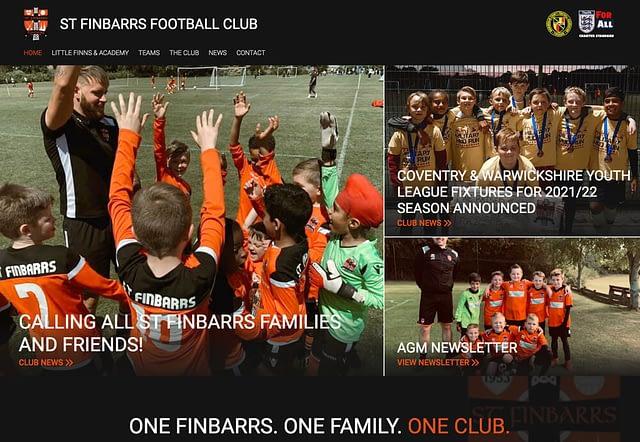 Screenshot of Website Design for St Finbarrs Football Club