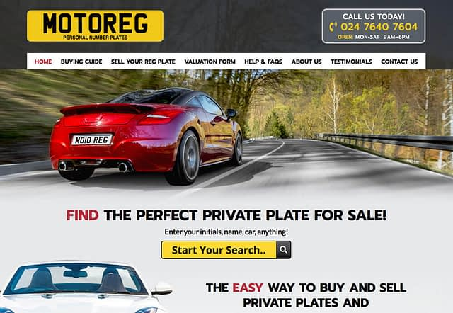 Screenshot of Web Design for Motoreg Private Plates for Sale