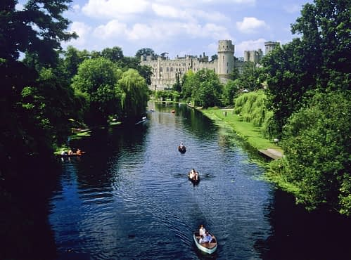 Warwick Castle with River and Boats Image