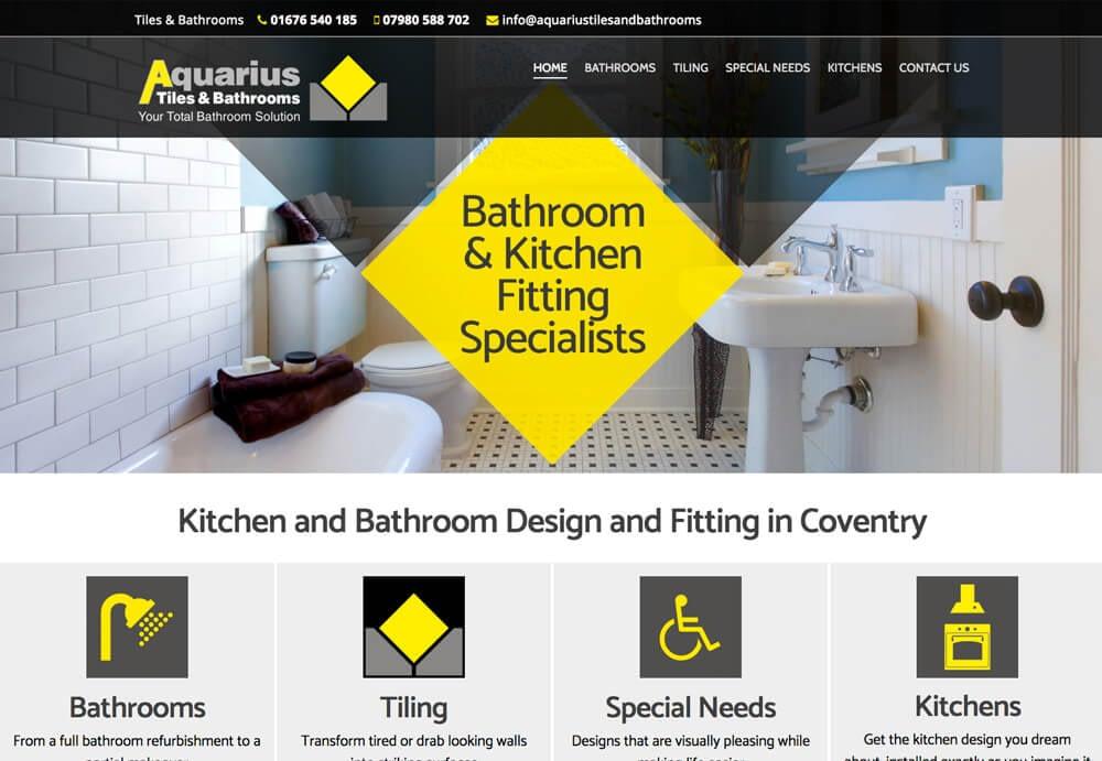 Web design for Aquarius Tiles & Bathrooms Website