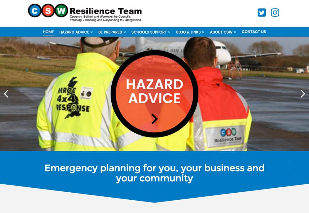A responsive web design for CSW Resilience team