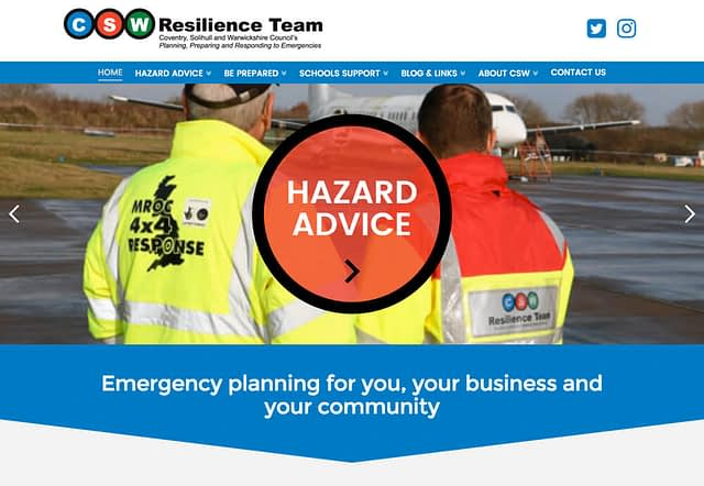 Web Design for Coventry Solihull Warwickshire CSW Resilience Team