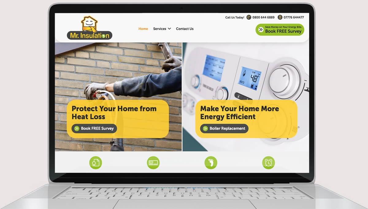 Screenshot of website design for Mr Insulation