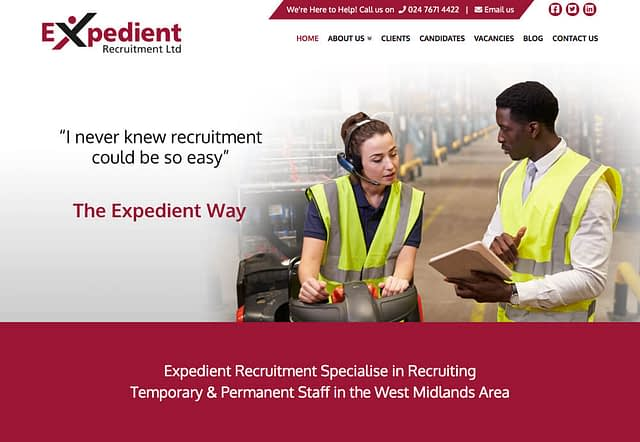 Screenshot of Web Design for Expedient Recruitment
