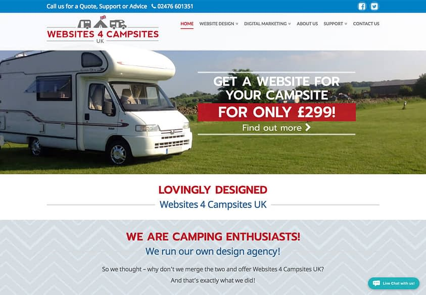 website design coventry for Websites 4 Campsites UK Website