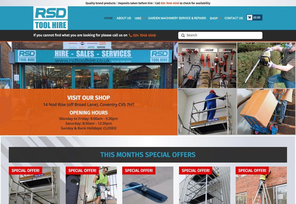 Screenshot of RSD Toolhire website