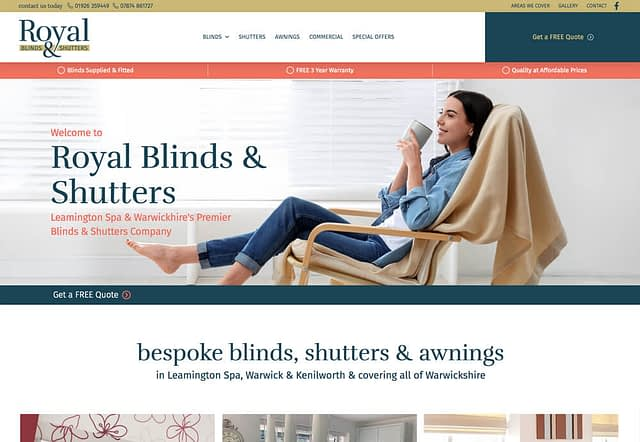 Screenshot of Website Design for Royal Blinds & Shutters