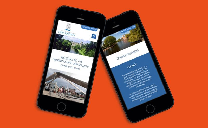 Screenshot of Mobile Website Design for The Warwickshire Law Society