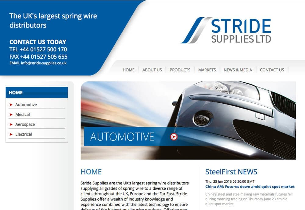 Web design example for Stride Supplies Ltd, Redditch