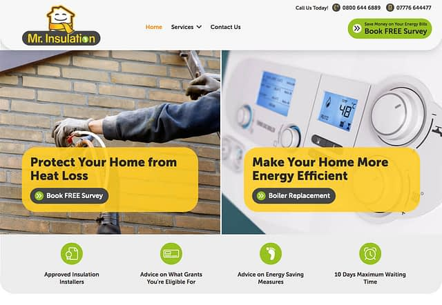 Screenshot of Mr Insulation Website Design