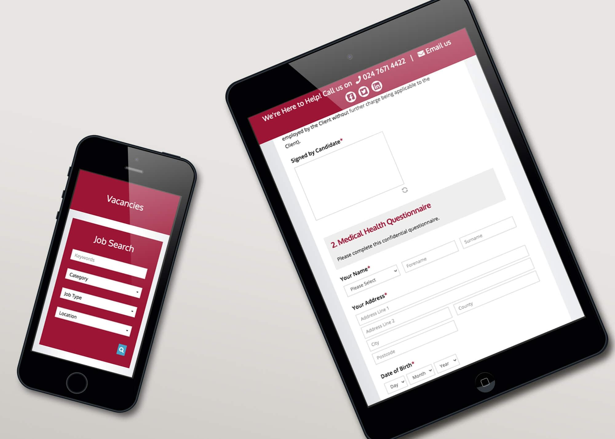 Web Design with Application Form for Expedient Recruitment