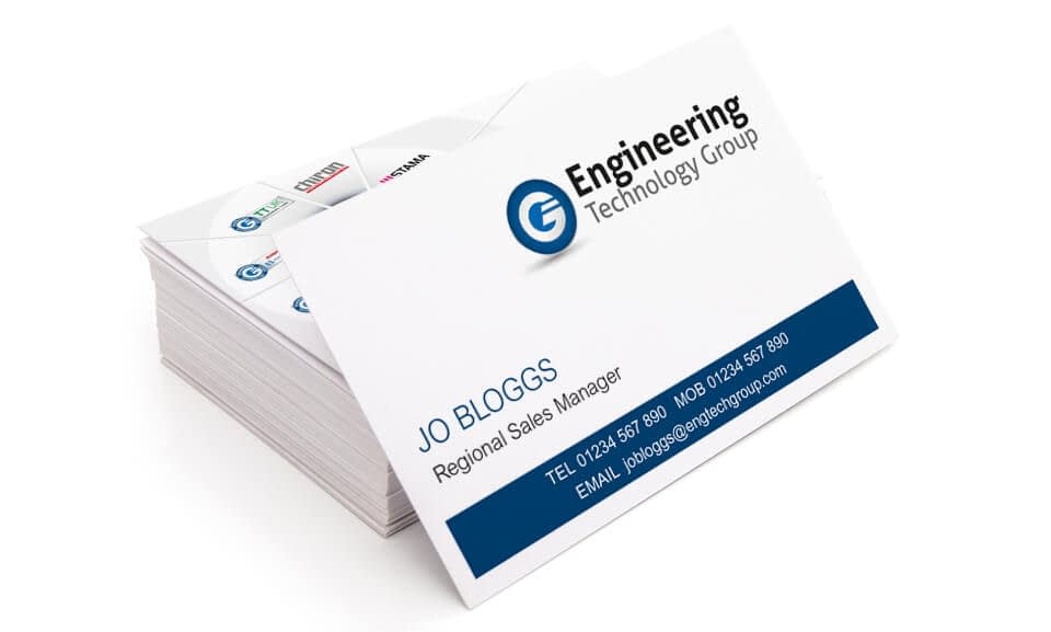 Business Card design example for The Engineering technology group