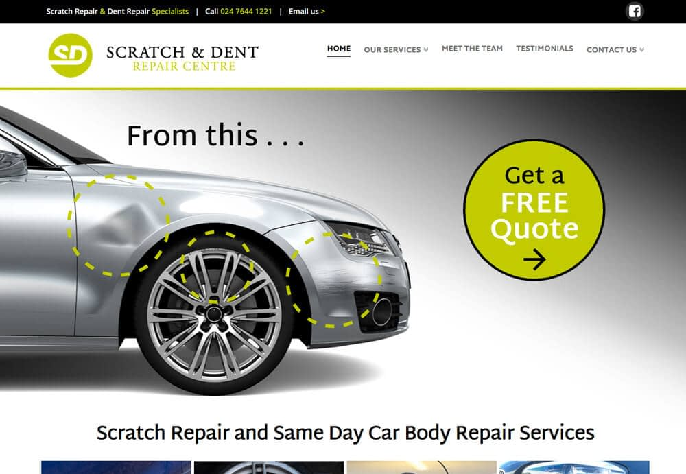 Website design example showing a home page design