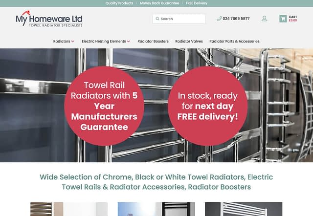 Screenshot of eCommerce WooCommerce Website for My Homeware