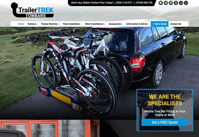 Screenshot of TrailerTREK Website home page