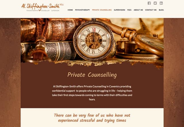 Web Design for Psychotherpay and Counselling Coventry with Al Skiffington-Smith