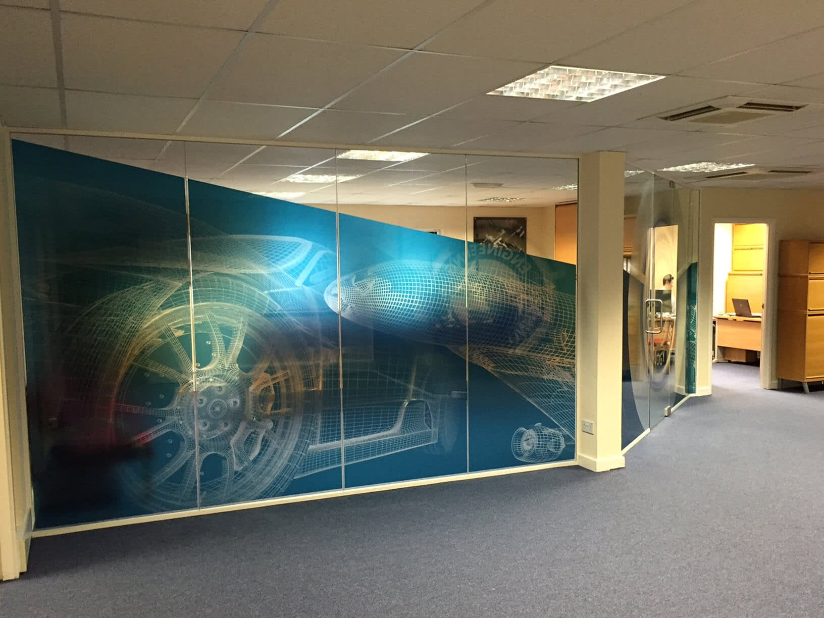 Brand design example of large graphics for office partitioning