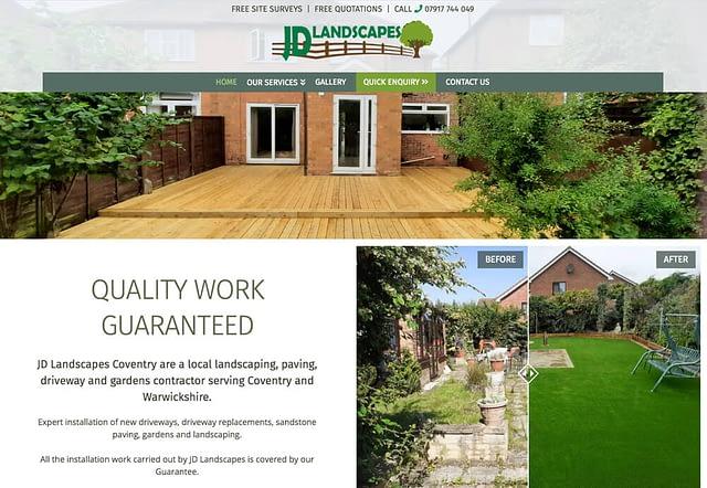 Screenshot of Web Design for JD Landscapes Coventry