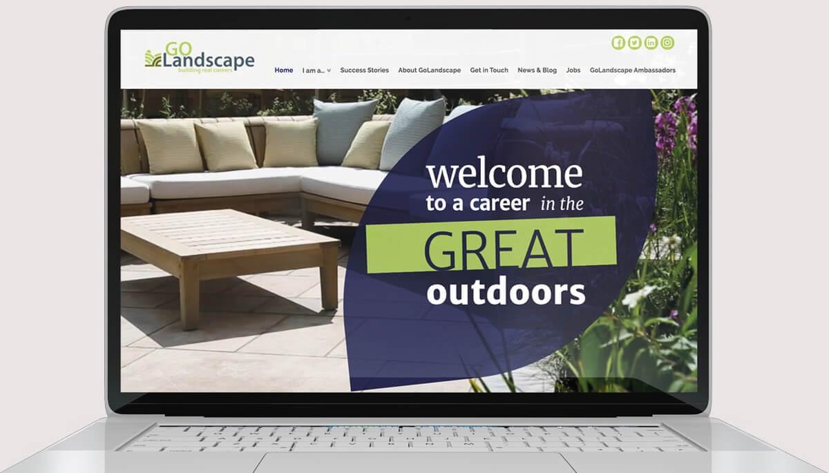Screenshot of website design for GoLandscape