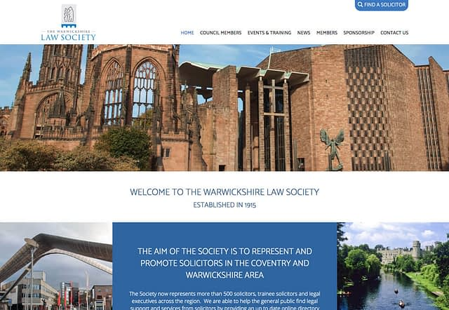 Screenshot of Web Design for The Warwickshire Law Society